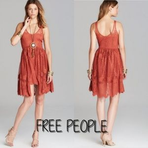 FREE PEOPLE Kristal Salinas red foil print dress 6